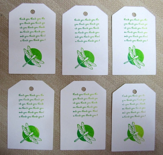 Dragonfly White Green  Thank you  Set of 6 Large Thank You Tags