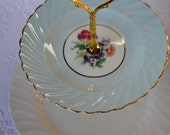 Vintage Cake Stand 2 Tier Blue Aynsley Plate & White Johnson Bros High Tea