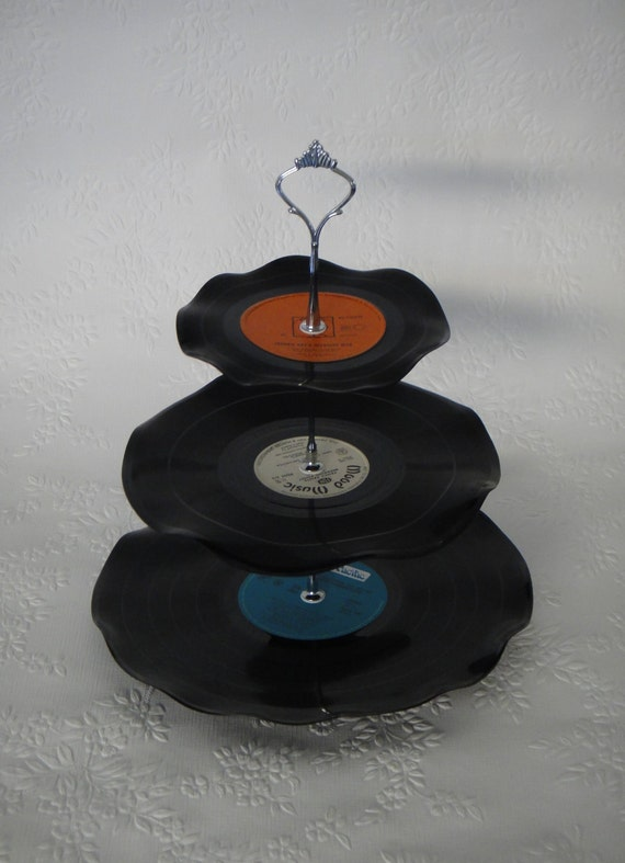 Record Cup Cake Stand 3 Tier Retro Rockabilly Wedding Rock n Roll 50s