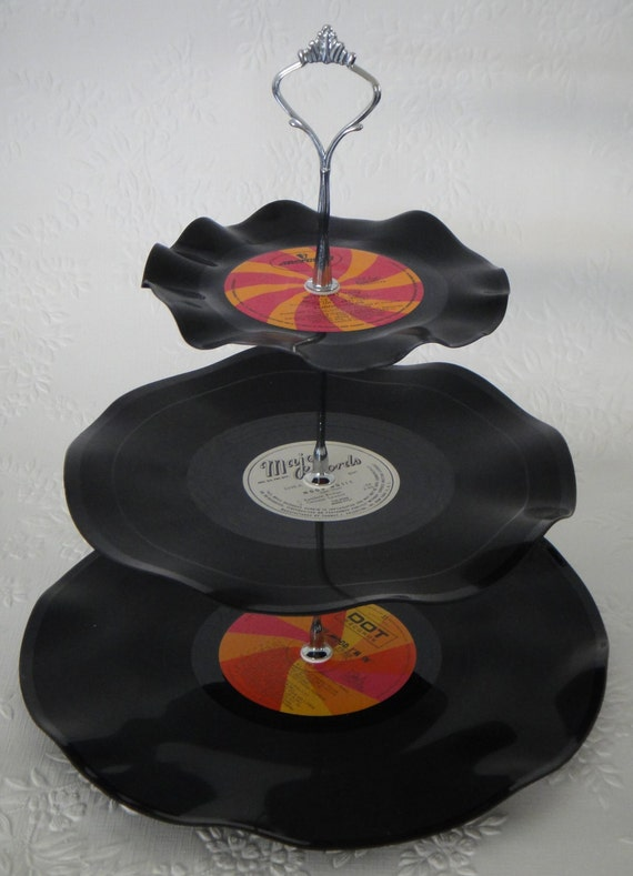 Record Cup Cake Stand 3 Tier Retro Rockabilly Wedding Rock n Roll 80s