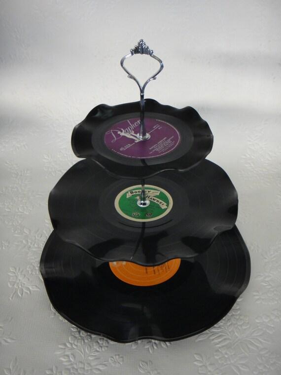 3 Tier Cup Cake Stand Vintage Retro Vinyl Record Rockabilly Wedding / Rock n Roll / Kitchen