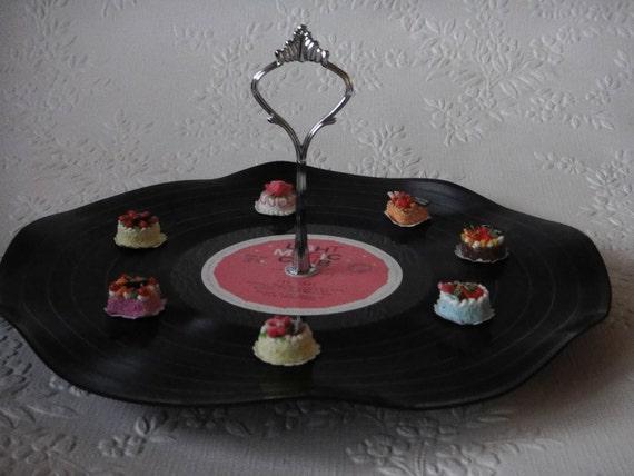 1 Tier Record Cupcake Stand Vinyl Cake server Retro Vintage Rockabilly Wedding 50s 60s Kitchen