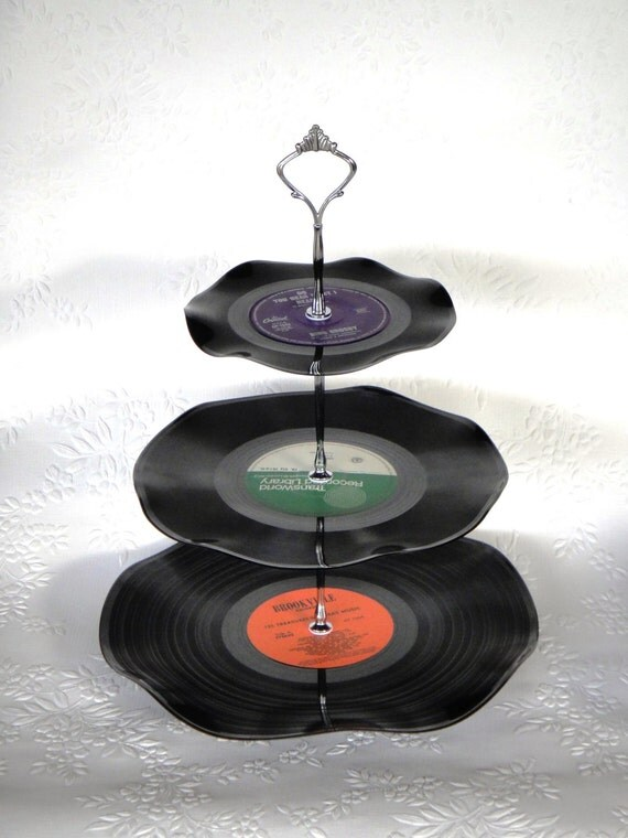 3 Tier Vinyl Record Cup Cake Stand  -     Do you hear what I hear