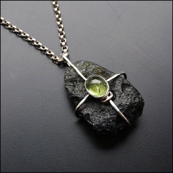 SALE Moldavite and Tourmaline - The Sterling Silver Pendant SALE
