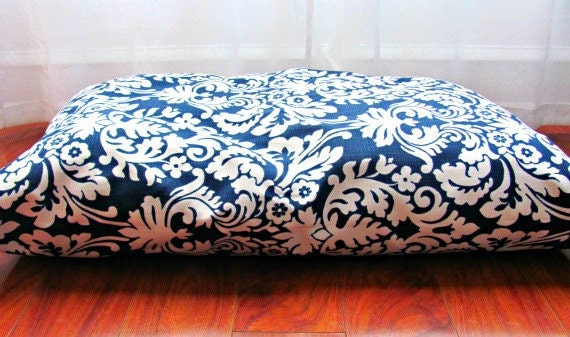 Dog Bed Cover, Navy, Victorian, Beach, Blue, White, Modern, Large, Medium Dog, SALE