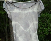 Vintage-Style Women's Tie Dyed T-Shirt, Grey and Yellow, Size Small