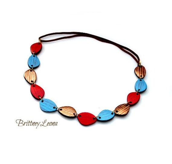 Debra- Red, Turquoise & Brown Headband