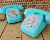 Vintage  Toy - Rare - Colectible - Miniature -  ROTARY TELEPHONE - TURQUOISE (aqua blue)