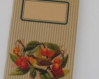 "original - limited edition - notebook - sketchbook - VINTAGE DESIGN (""birds & cherries"")"