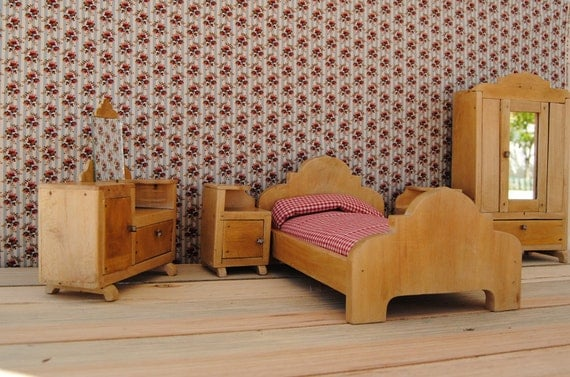 RESERVED for  sultanabahadurkhan - Unique 1950's vintage MINIATURE TOY bedroom furniture - handmade - dollhouse