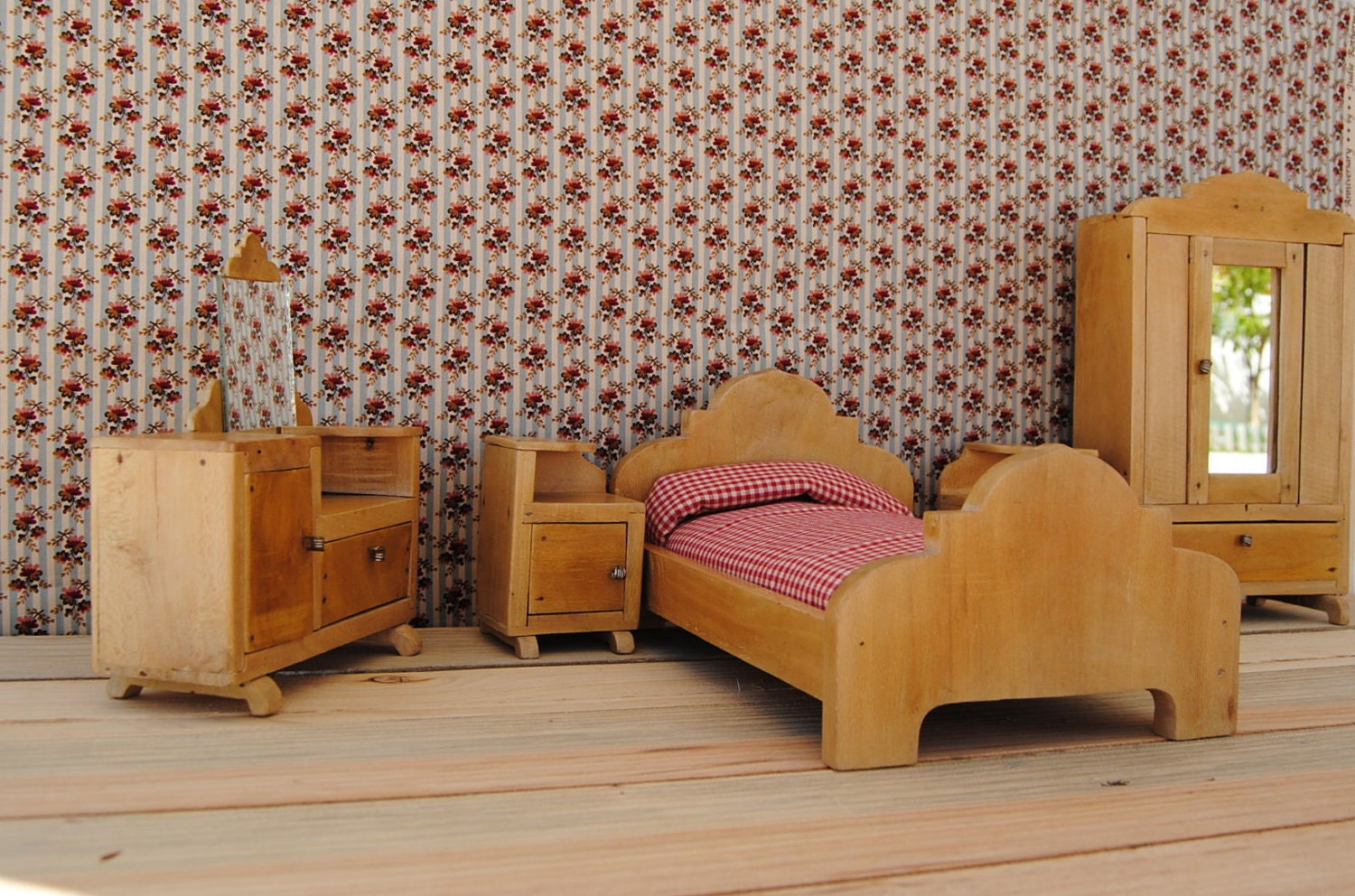 unique 1950 s vintage miniature toy bedroom furniture handmade