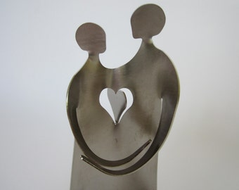 Wedding shower gift -LOVERS metal sculpture miniature- cake topper