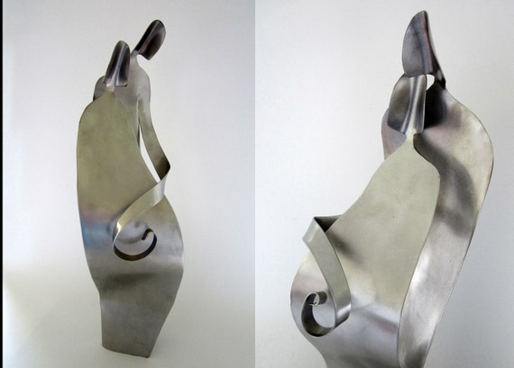 Shower Gift -  WAITING - Sculpture- stainless steel metal by Chavenelle