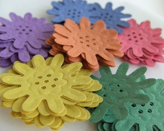 160, Daisies, 8 colors, yellow, purple, green, blue, orange, pink, card making, confetti, wedding, by DoodleDee