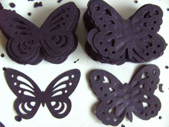 BLACK,Card ,Paper, butterflies,80, confetti, scrap booking, paper craft, card making, tags, by DoodleDee2