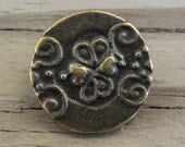 """2 Metal Buttons 3/4"""" - Antiqued Brass with Swirls & Hearts"""