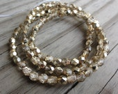 Metallic Gold Czech Glass Faceted 4mm Beads 16 inch Full Strand - Approx 100 Beads