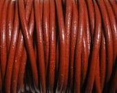 2 Yards Brick Red Genuine Leather 2mm Round Cord