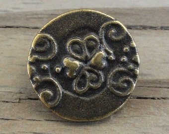 "10 Metal Buttons 3/4"" - Antiqued Brass with Swirls & Hearts"