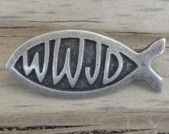 2 WWJD Fish Metal Buttons