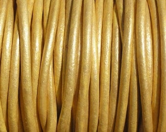 10 Yards Metallic Gold Genuine Leather 2mm Round Cord