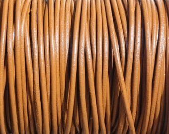 10 Yards Light Brown Genuine Leather 2mm Round Cord