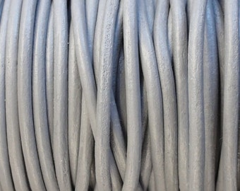 10 Yards Grey Genuine Leather 2mm Round Cord