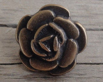 2 Metal Buttons Antiqued Brass Rose with Shank
