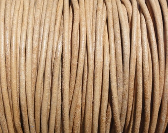 10 Yards 1mm Natural Leather Cord Round Undyed -1.0mm