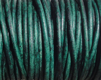 10 Yards Distressed Turquoise Green Genuine Leather 2mm Round Cord Natural Dye
