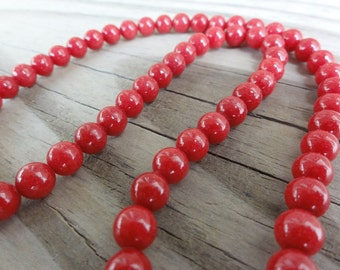 Red Mountain Jade Beads 6mm Round Smooth - 16 inch Full Strand