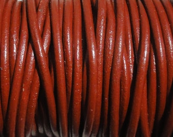 10 Yards 1.5mm Brick Red Genuine Leather Round Cord