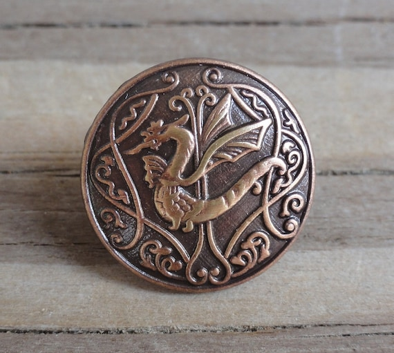 2 Metal Buttons - Dragon - Antiqued Copper Buttons with Shank - 5/8 inch