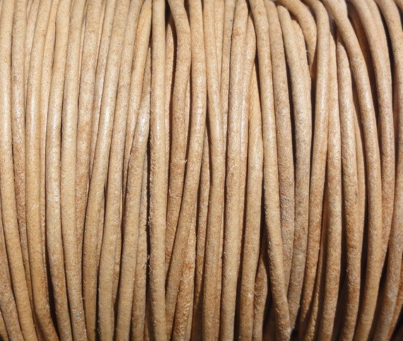 10 Yards Natural 2mm Leather Cord Round Undyed