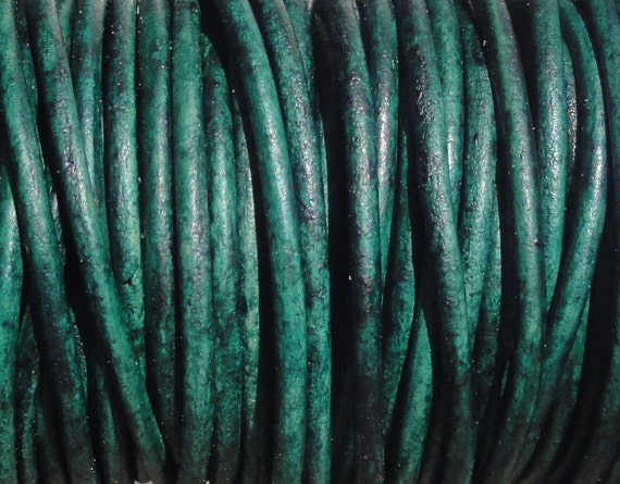 2mm Distressed Turquoise Green Leather Cord  -  Genuine Leather 2mm Round Cord Natural Dye