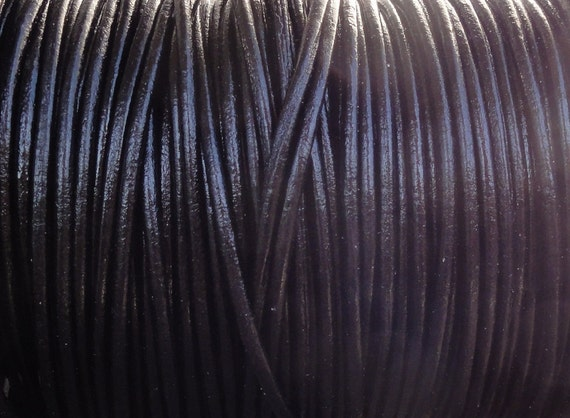 10 Yards Black Genuine Leather 2mm Round Cord