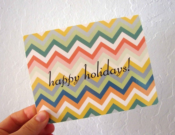 Chevron happy holiday cards - pack of 10