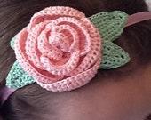 Crochet Pink RoseHeadband