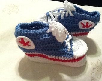 Crochet Baby Booties All Star.