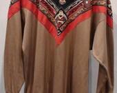 VINTAGE XL Native American Sweatshirt Tunic Bandana Eagle Indian Design Navaho Unisex Country Western Beige Orange Black