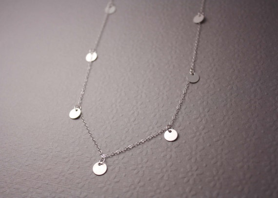 Tiny Silver Disc Necklace - bright silver dots round tiny drops - bridal jewelry or simple everyday necklace