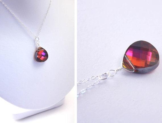 volcano crystal briolette necklace - Swarovski crystal volcano red orange pink necklace - everyday necklace