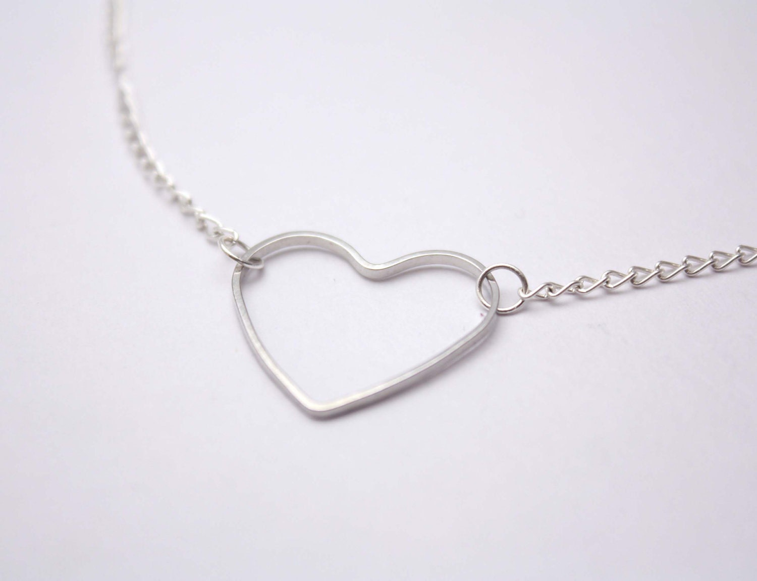simple silver heart necklace whimsical simplicity by
