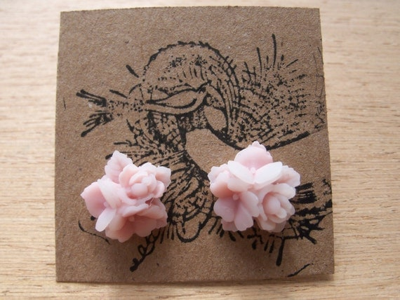 Lavender and Pink 2 Tone Bouquet Flower Earrings