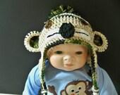 Crocheted Camoflage Sock Monkey Flapper Beanie