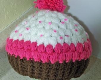 Crocheted Chocolate Cupcake  Beanie