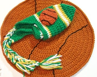 Crocheted baby basketball  beanie with cape  PHOTO PROP Any Team Any Team Color