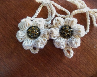 Crocheted Barefoot Baby Sandals  Retro beige Color