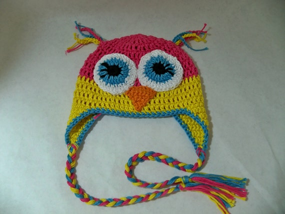 Crocheted Ari the Bright Eyed Owl  Beanie   Color blocking