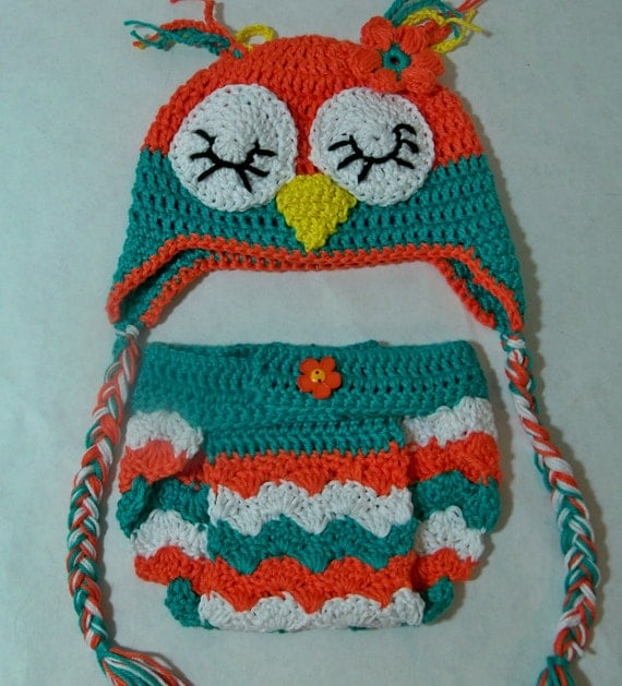 Free Crochet Owl Hat And Diaper Cover Pattern : Crocheted baby chevron Owl Beanie and Diaper Cover Photo prop